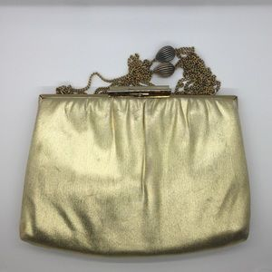 Vintage gold clutch with chain